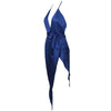 Satin Plunge Slit Dress Night Blue