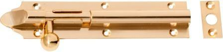 Tradco 'BARREL BOLT-LONG THROW' Polished Brass 1404 150mm x 32mm