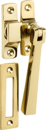 Tradco 'CASEMENT FASTENER-SQUARE' Polished Brass  95mm x 35mm 1690