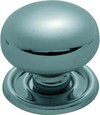 Tradco 'SHEET BRASS' CUPBOARD KNOB Chrome Plate 38mm 3661