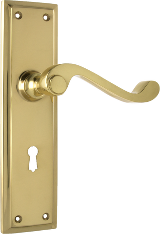 Tradco 'MILTON' LEVER LOCK Polished Brass 200mm x 50mm 1005