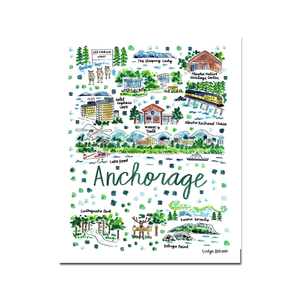 """Anchorage, AK"" Fine Art Print"
