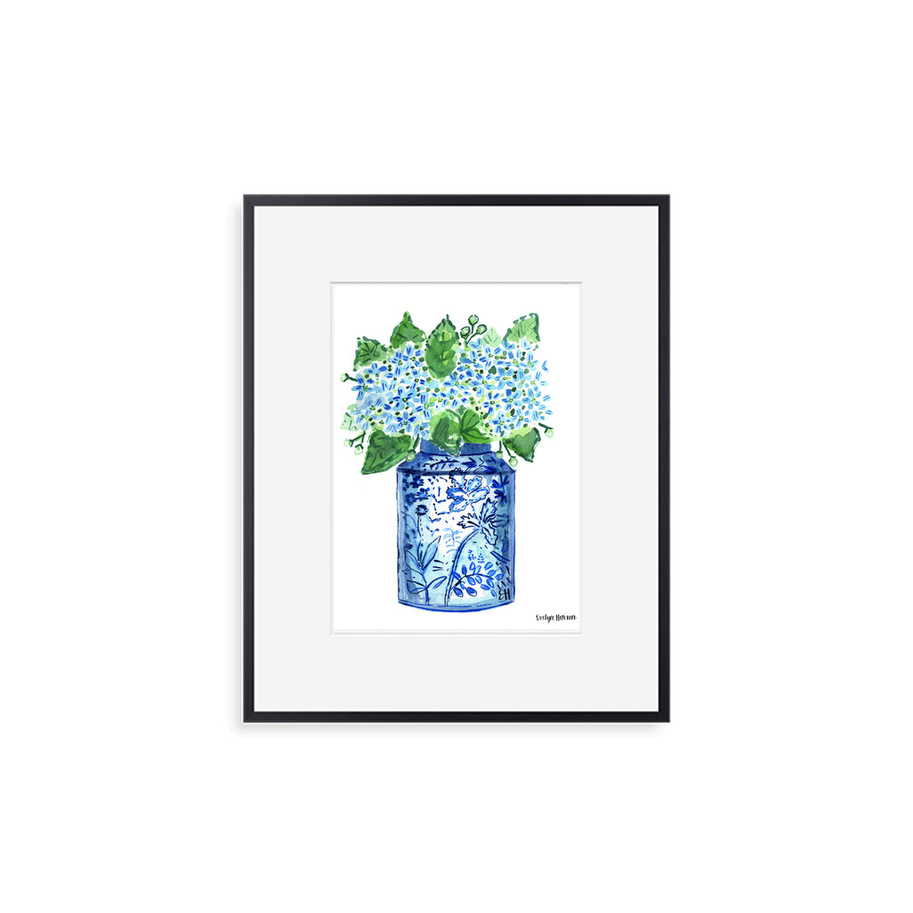 "The ""Happy Blue Hydrangeas"" Fine Art Print"