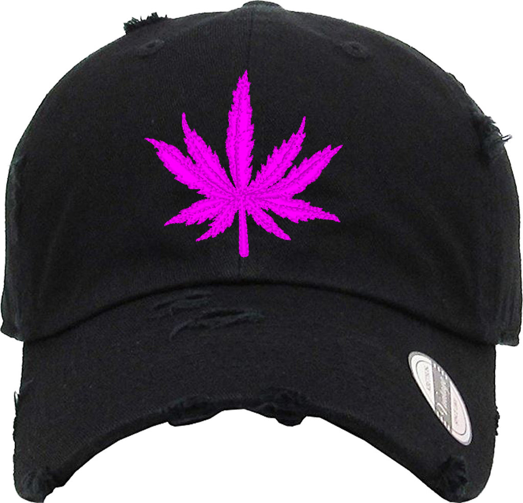 PINK MARIJUANA Distressed Baseball Hat