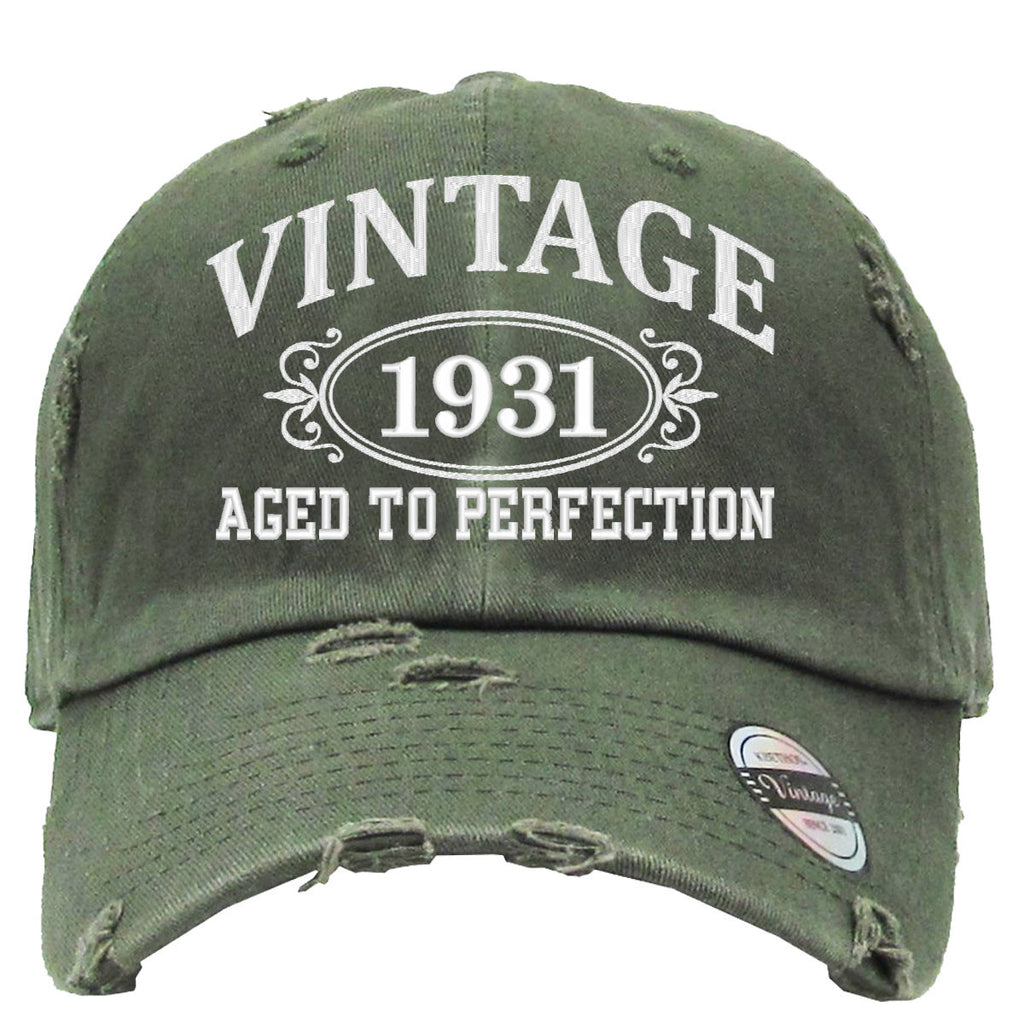 AGED TO PERFECTION 1931 Embroidered Distressed Baseball hat