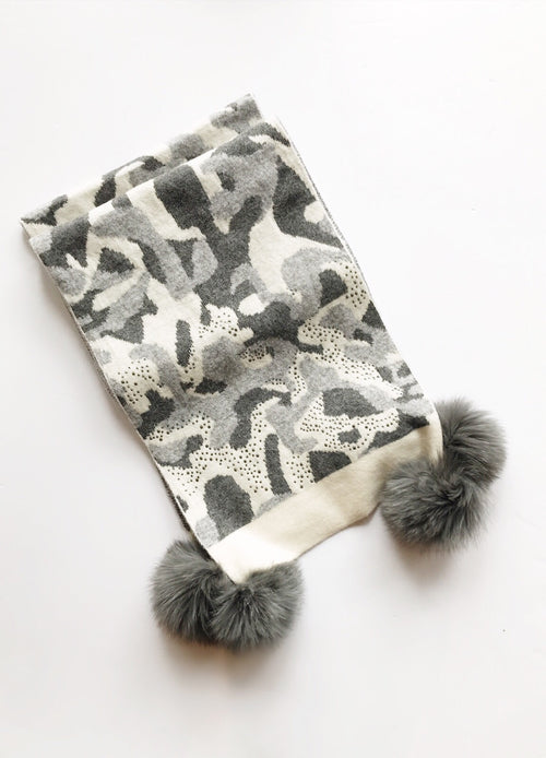 Mitchie's matching Knit Wool Scarf -Gray Camo / EQUATION Boutique