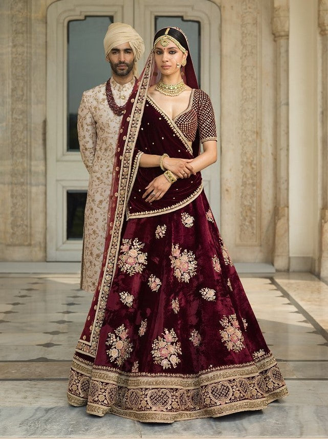 Sabyasachi Inspired Dark Burgundy Wedding Lehenga