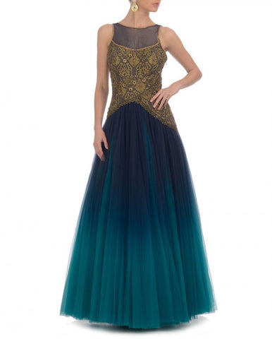Aqua blue shaded Indo-western gown