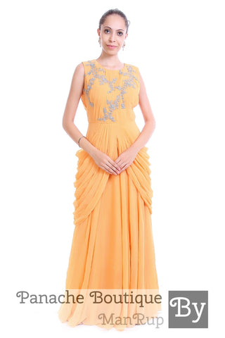 Beige Colour Cowl Gown