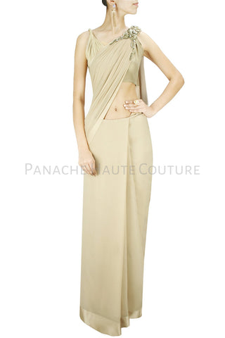 Beige color designer saree gown in crepe