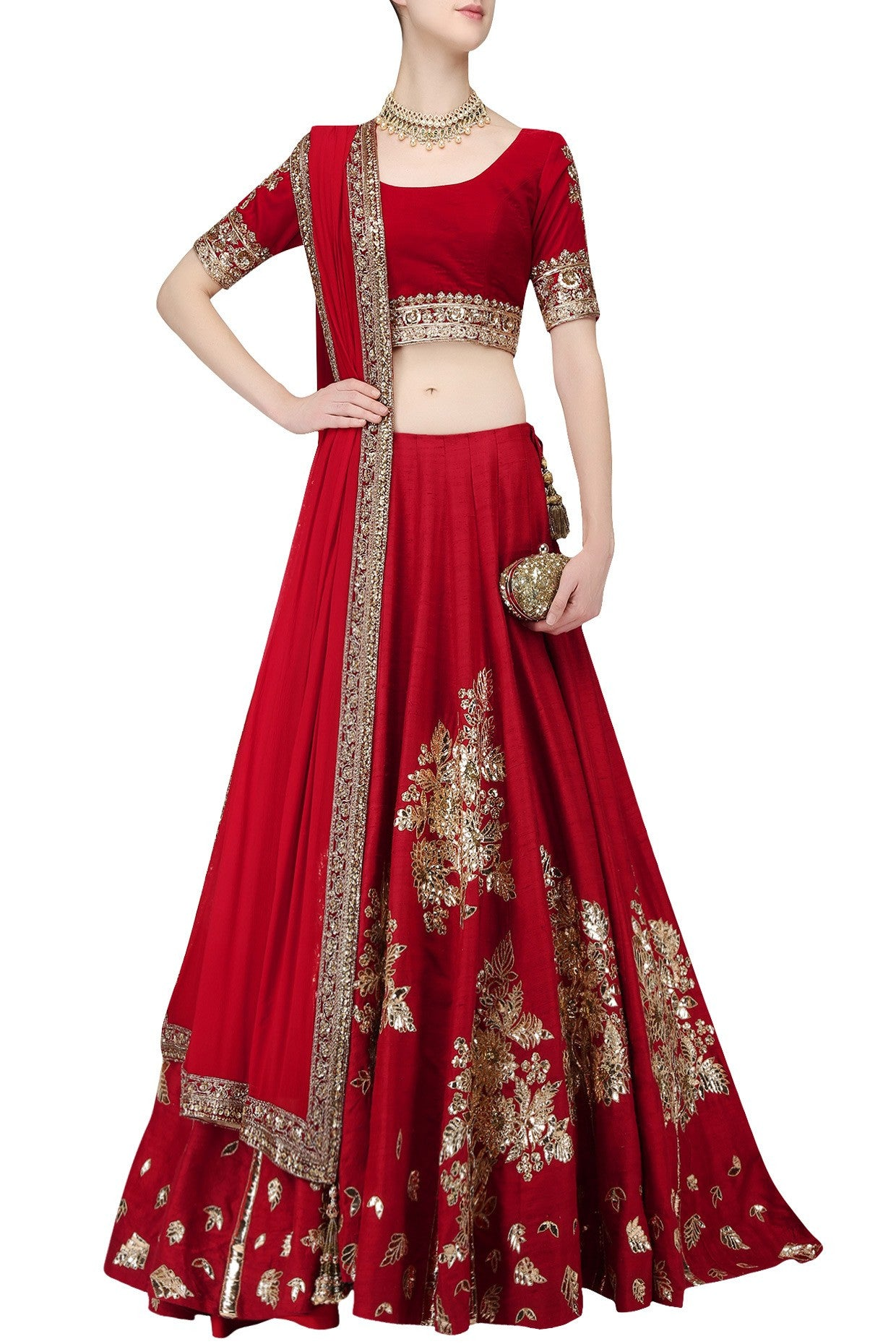 Deep Red Wedding Lehgna Choli by Panache Haute Couture