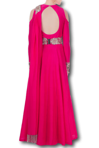 Fuschia Pink Color Gown