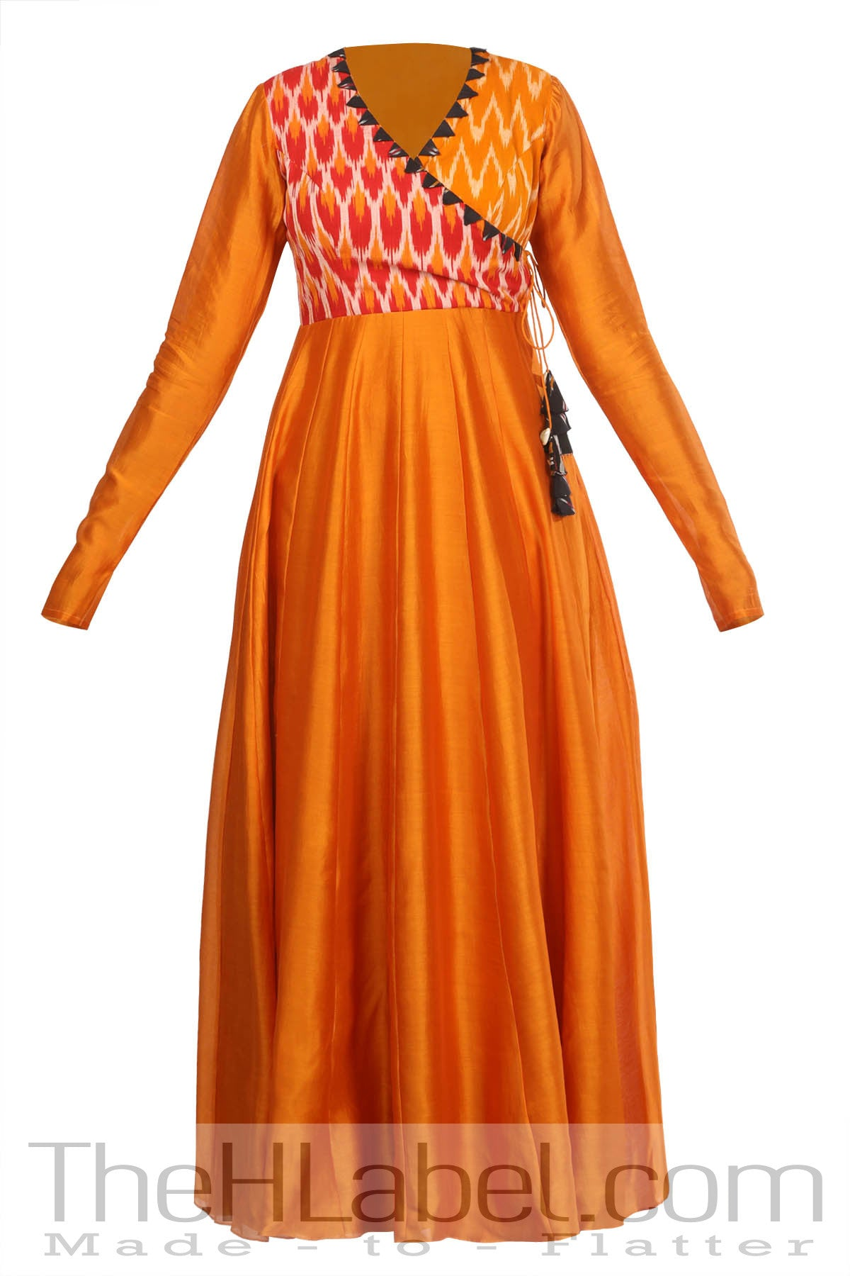 Angrakha style anarkali with chudi sleeves
