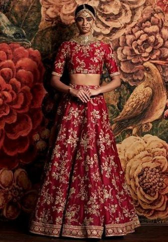 Red Color Bridal Lehenga Choli from Sabyasachi Collection