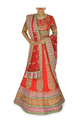 Red color wedding lehenga choli with orange border
