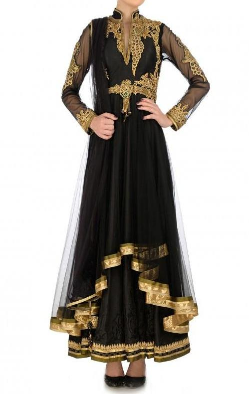 Black anarkali suit with Peacock design