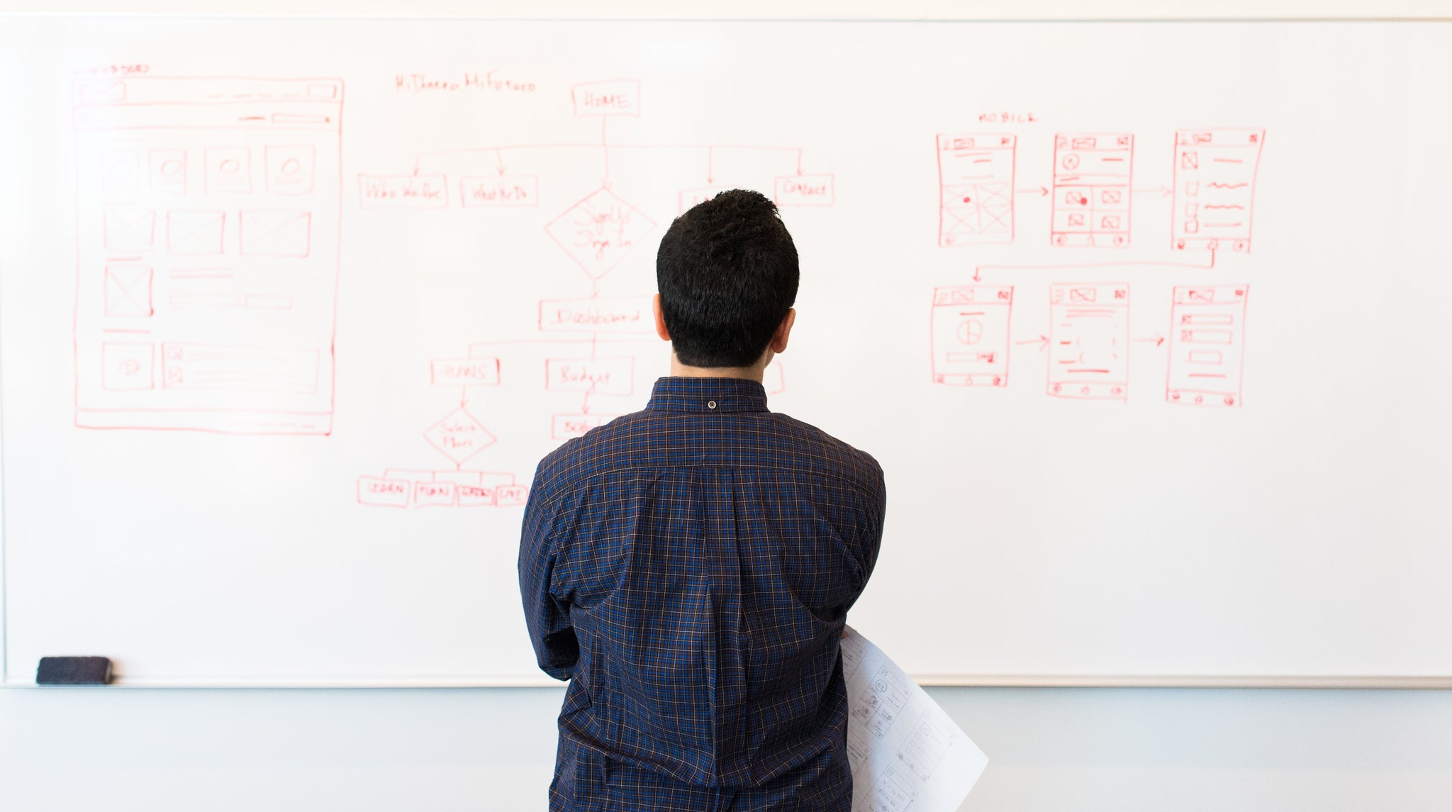 Man looking at white-board.