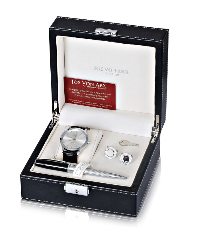 Men's Gift Set With Black Classic Watch, Ball Point Pen & Rectangular Cufflinks LX13 - Robert Openshaw Fine Jewellery