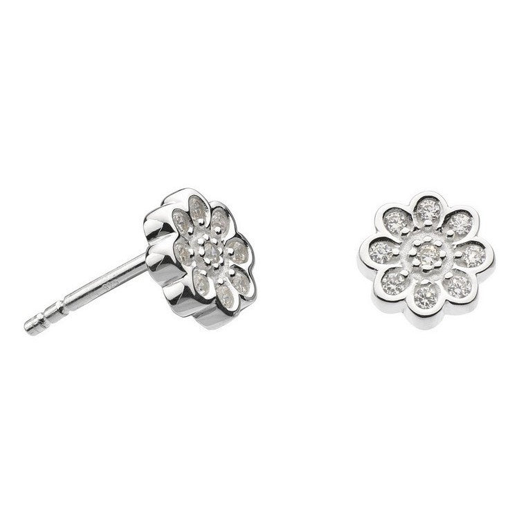 925 Silver CZ Pave Flower Stud Earrings B3701