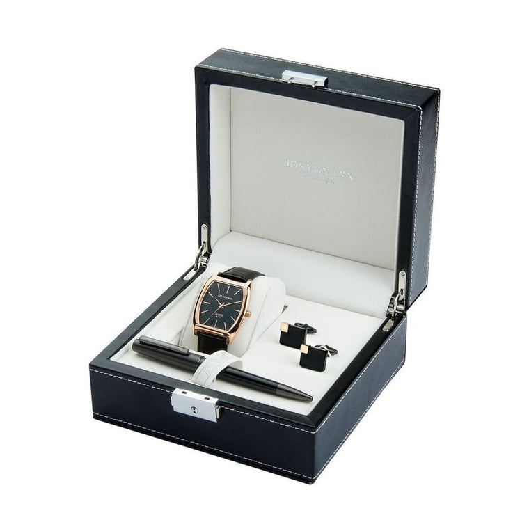 Men's Gift Set With Black Classic Watch, Ball Point Pen & Rectangular Cufflinks LX12