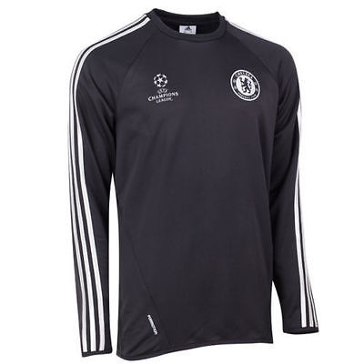 ADIDAS CHELSEA FC UEFA CHAMPIONS LEAGUE TRAINING TOP Black/Silver.