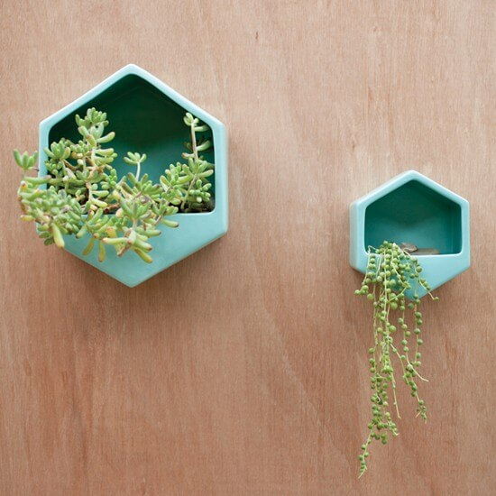 Planter Wall Hexagon Turquoise Large
