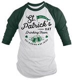Shirts By Sarah Men's ST. Patrick's Drinking Team T-Shirt Beer Vintage 3/4 Sleeve Raglan-Shirts By Sarah
