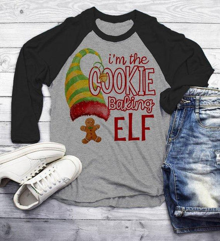 Men's Funny Elf T Shirt Cookie Baking Matching Christmas Shirts Graphic Tee Watercolor 3/4 Sleeve Raglan-Shirts By Sarah