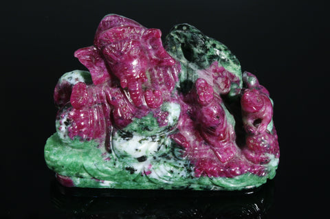 Ruby and Zoisite Lord Ganesha Diety, 302.3 grams