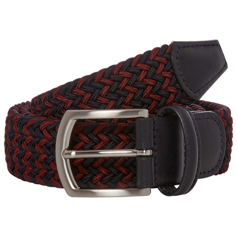 Navy and Burgundy Elastic Belt with Silver Buckle