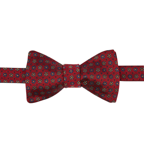 Red Foulard Flower Spot Bow Tie