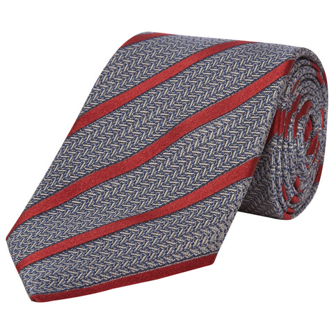 Grey Stripe Sateen Textured Woven Silk Tie