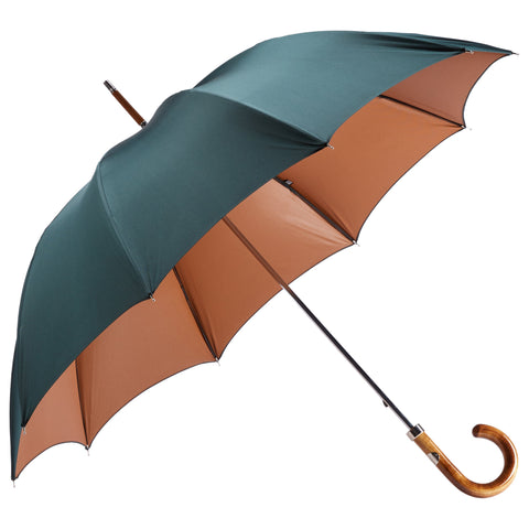 Polished Maple Wood-handle Green and Brown Umbrella