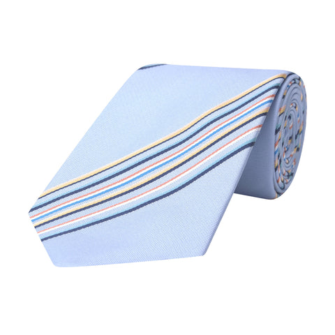 Blue Multi Stripe Woven Cotton and Silk Tie