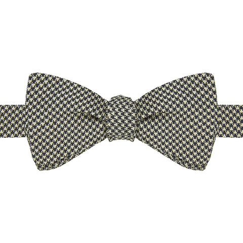 White and Blue Houndstooth Bow Tie