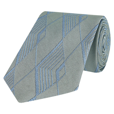 Green and Blue Geo Diamond Silk Tie