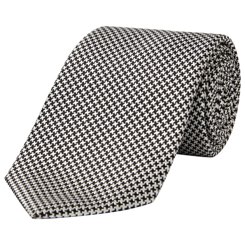 Black and White Houndstooth Silk Tie