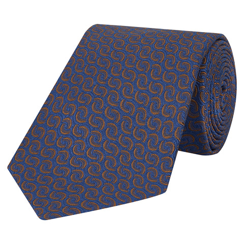 Blue and Brown Geometric Wave Silk Tie