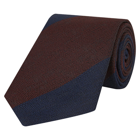 Brown and Navy Wide Stripe Hopsack Woven Tie