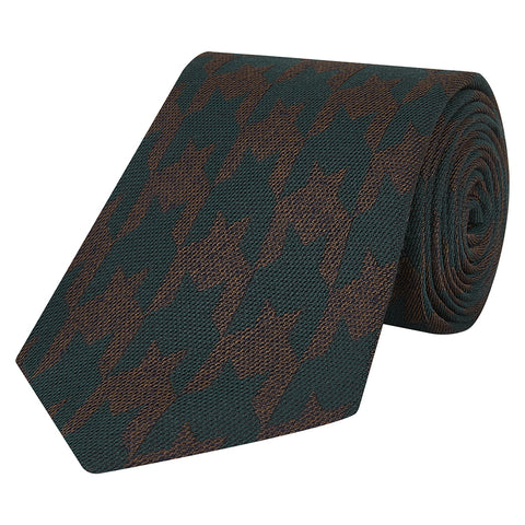 Green and Brown Houndstooth Check Woven Mix Tie