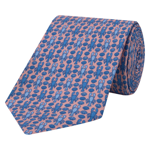 Pink Novelty Lobster and Shell Printed Silk Tie