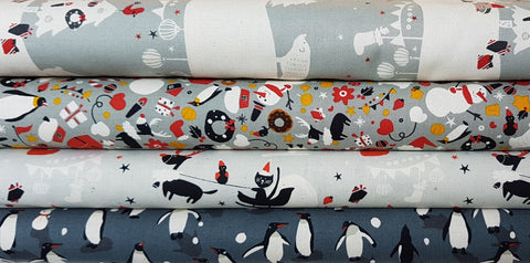 Designer Bundle - Waku Waku Christmas by Naoco Miyagawa  4x Fat Quarters