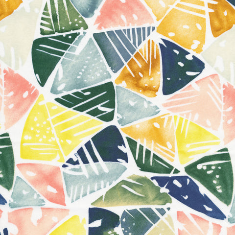 Field and Sky Organic Cotton Sateen by Yao Cheng - Emerald Triangles
