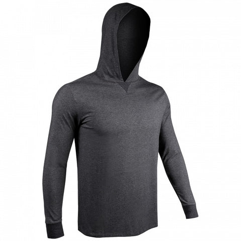 2UNDR Long Sleeve Hooded Men's T-Shirt Charcoal
