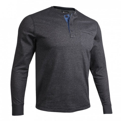 2UNDR Long Sleeve Pocket Henley Men's Pullover Black/Grey
