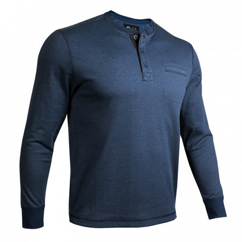 2UNDR Long Sleeve Pocket Henley Men's Pullover Navy/Grey