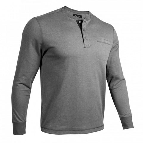 2UNDR Long Sleeve Pocket Henley Men's Pullover Grey/Grey