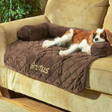 "Personalized 36"" Sofa Saver Pet Bed with Bolsters - Chocolate"