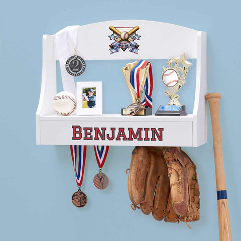Personalized Trophy Shelf and Medal Holder - Baseball