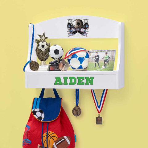 Personalized Trophy Shelf and Medal Holder - Soccer